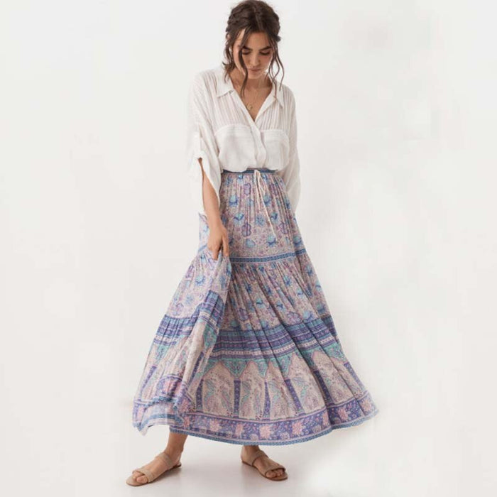2019 Beach Ethnic Style Skirt Long Hippie Bohemian Waist Floral Party
