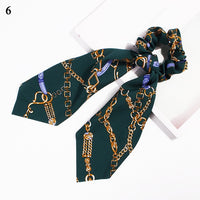 2019 Boho Chain Floral Print Ponytail Scarf Bow Elastic Hair Rope Ties Scrunchies Hot Sale