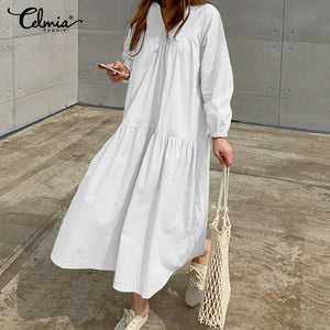 2019 Celmia Fashion Solid Long Shirt Dress Women Long Sleeve Sexy V Neck Casual Loose Pleated Party