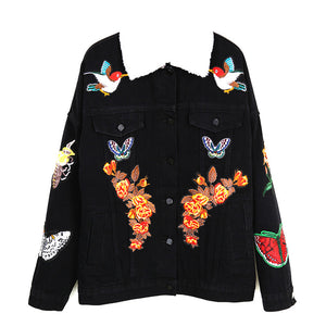 Embroidered Jacket Floral tiger head Denim Coat  jacket  Fashion Vintage Coats