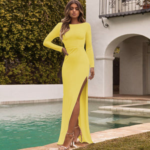 2019 European and American fashion sexy summer halter slit long sleeves and solid color