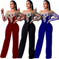European and American women's one-piece collar off-the-shoulder sexy jumpsuit