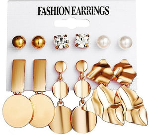 2019 Fashion Geometric Gold Color Stud Earrings Set For Women Girls Metal Elephant Moon Letter Earring Handmade Female Jewelry