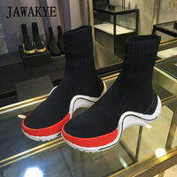 Platform Sock Shoes Women Mixed Color Thick Bottom ladies Flat Sneaker