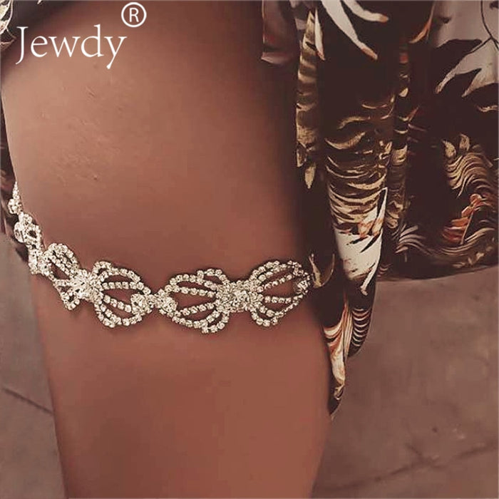 2019 Fashion Luxury Sexy Flower Rhinestone Thigh Leg Body Chain Crystal Statement Body Jewelry for Women Summer Beach Brassiere