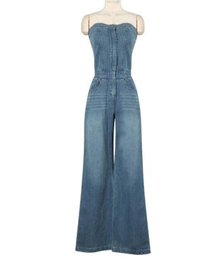 2019 Fashion Mujer High Waist Jeans Women's Denim Wide Leg Pants New One-piece Halter Tube Top Style Jumpsuit Women Waisted