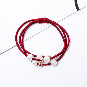 2019 Fashion Pearl Elastic Hair Bands multilayer hair ring Ponytail Holder