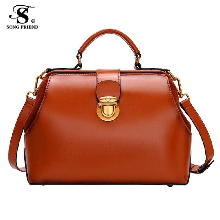 2019 Fashion Quality Leather Patchwork Women Messenger Bag Female Chain Strap Shoulder Bag  Ladies' Doctor Bag Classic Retro