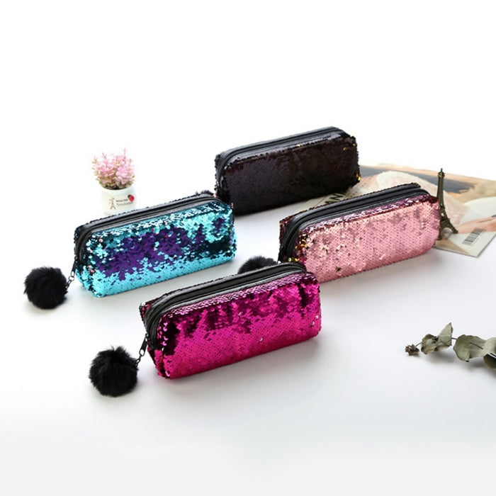 2019 Fashion Women Girls Leather Hot Sales Hair Ball Cosmetic Sequin Pen Bag Sequin Cosmetic Bags Sequins Purse
