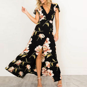 2019 Fashion Women's Summer Sexy V-Neck Short Sleeve Casual Slit Floral Printed