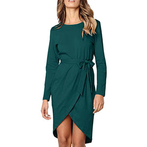 2019 Hot Sale Women's Casual Solid Front Slit Round Neck Green Bandage Long Sleeve