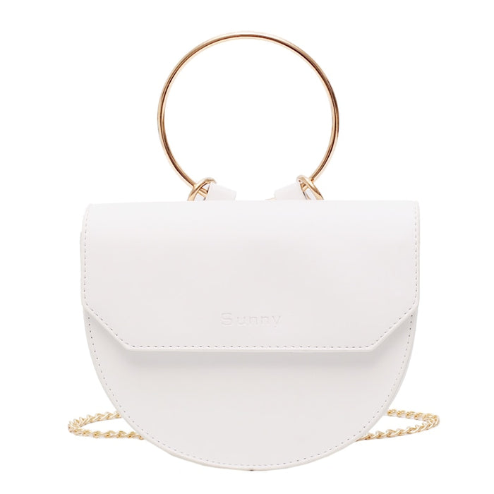 2019 Luxury Handbags Women Bags Designer PU Leather Ring Half Moon Messenger Shoulder Crossbody Bag For Women White sac a main