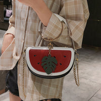 2019 Luxury Women Bag Brand Shoulder Bag Half Moon Handbag Fashion Crossbody Bag Purse Ring Ladies Printing Watermelon Bag 589