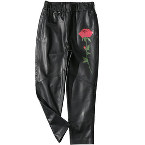 2019 New Arrival Women Trousers Genuine Leather Black Rose Print Fashion Design