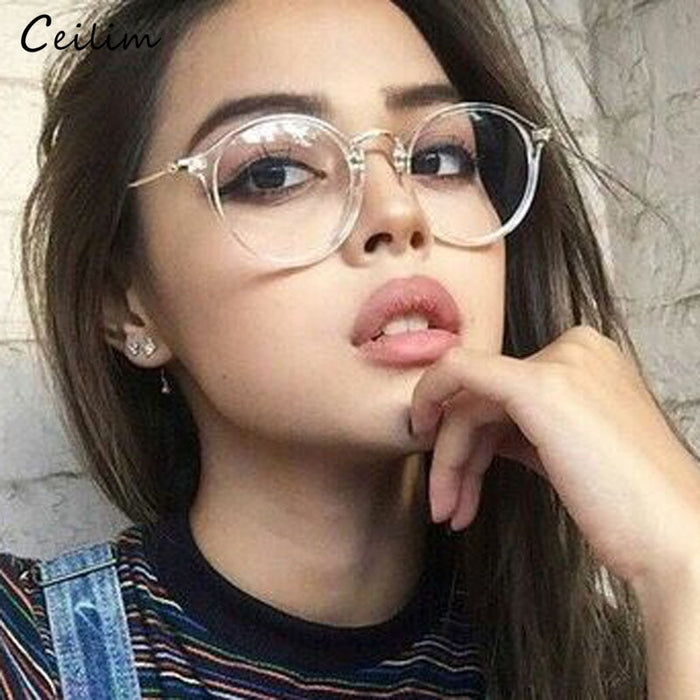 2019 New Clear Glasses Women Round Eyeglasses Frame Transparent Spectacle Frames Fake Glasses Female oculos de grau