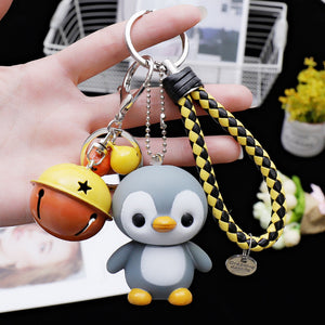2019 New Creative cute cartoon little penguin doll car keychain creative male and female bag key chain ring pendant keychain
