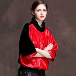 2019 New Design Genuine Sheepskin Real Leather High Neck Tops