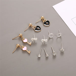 2019 New Fashion Earrings for Women Crystal Key Heart Cute Earrings 6 Pairs Set Monday To Saturday Earrings Jewelry Gifts