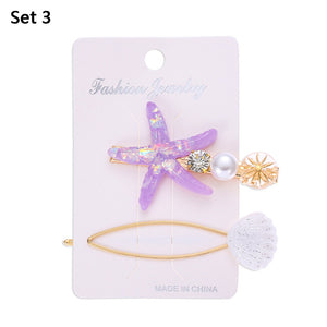 2020 New Fashion Imitation Pearl Barrettes Starfish Hair Grip Shell Hairpin