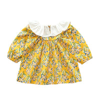 2019 New Fashion Infants Baby Girl Shirt Long Sleeve New Born Flower Print Pink Yellow Casual Fitness Baby Shirt Autumn Spring