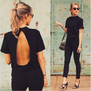 2019 New Fashion Shirts Women Casual Cool Slim Tops Open Back T shirt Sexy Short