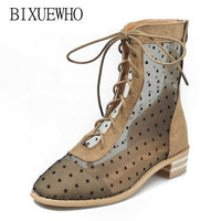 New Fashion Summer Female Ankle Boots Women's Polka Dot Boots Woman