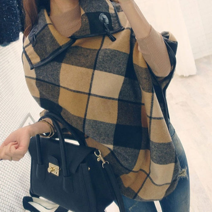 2019 New Fashion Winter Plaid Ponchos And Capes For Women and Female