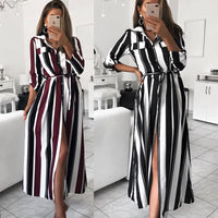 2019 New Fashion Women Sashes Striped Printing Long Dress OL Turn-Down Collar Shirt Dress Vintage Elegant Party Women Dresses