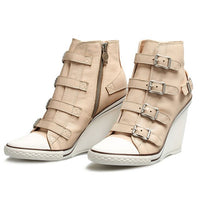 2019 New Genuine Leather High Top Shoes Women Designer High Heel Wedge Shoes Khaki Round Toe Zipper Sneakers Female Plus Size 42