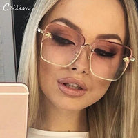 2019 New Oversize Clear Pink Sunglasses for Women Gradient Square Bee Sun Glasses