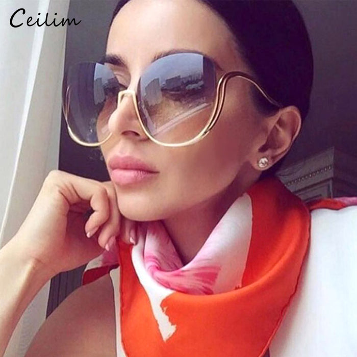 New Rimless Gradient Sunglasses Women Luxury Brand Designer Oversized Square Sun
