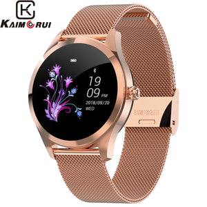 2019 New Smart Watch Women KW10 Heart Rate Bluetooth Smart Watch IP68 Waterproof Smartwatches Physiological Cycle Watch for IOS