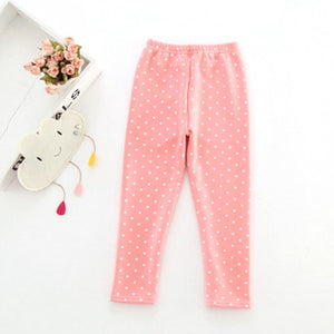 New Spring Autumn Winter Fashion Girl Pants Cotton Trousers Warm Polka Dots