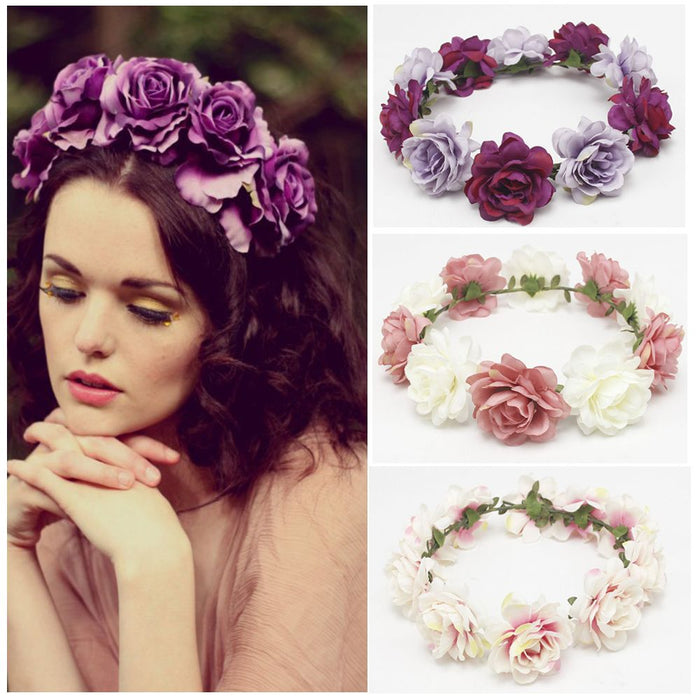 2019 New Spring Fashion Women Lady girls Wedding Flower Wreath Crown Headband Floral Garlands Hair band Hair Accessories