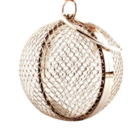 2019 New Style Women Round Shape Hollow Metal Shoulder Bag Evening Bag Clutch Handbag Wedding Party Purse