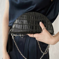 2019 New Style Women Saddle Chain Shoulder Messenger Bag High Quality Alligator Leather Handbag Women Vintage Half Moon Bags