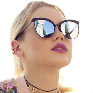 Vintage Cat Eye Sunglasses Women Fashion Brand Designer Mirror Cateye Sun Glasses