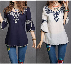 Women Cotton Sleeve Fashion Ethnic Totem Pattern Embroidered Bordered Ladylike