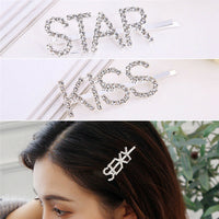2019 New Women Exquisite Crystal Rhinestone Letters Barrette Hair Clip
