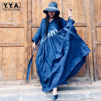 2019 New Women Luxury Handmade Plant Dyeing Maxi Long Dress Loose Casual One Size Folk Printed Cotton Linen Ankle Length Dress