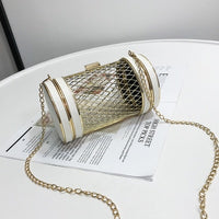 New Women Messnger Bag Metal Net Bags Gold Mesh Grid Cage ClutchCylindrical Chain Shoulder Bag Female