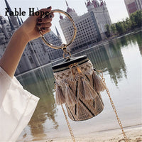 New Women Mini Bucket Bag Fringed Knitting Ladies Messenger Bags Circle Handle Shoulder Crossbody Bags