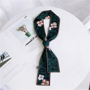 2019 New Women Scarf Skinny Silk  Leopard Print Bandana Small Handle Bag Ribbons Female Neckerchief Head Scarves & Wraps