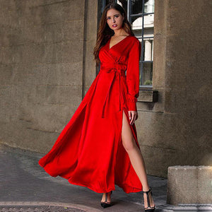 2019 New Yfashion Woman Bohemian Style Dress Deep V-neck Long Sleeves Slit Wide