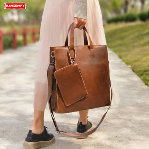 women's bag retro shopping handbag female vertical section laptop briefcase