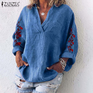 Autumn Floral Blouse Women Casual V-Neck Long Sleeve Embroidered Cotton