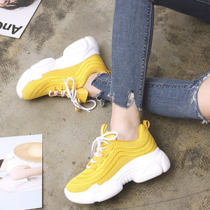 Running Shoes Sport Woman Sneakers Solid Mesh Breathable Yellow Walking Gym
