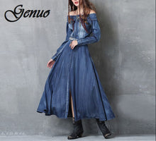 2019 S-L Women Denim Dress Women's Clothing Denim Jeans Dress Off-Shoulder Front