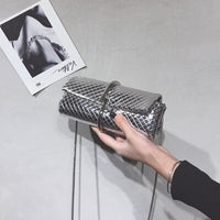 Silver PU Leather Chain Small Shoulder Bags Metal Frame Bag Vintage Crossbody Bag For Girls Purse Clutch