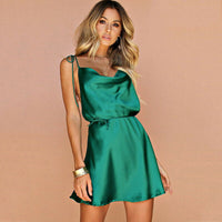 2019  Spaghetti Strap Summer Dress Women Sexy  Backless Satin Silk Bandage